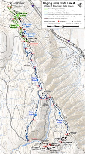 Map of Mountain Bike Trails in Raging River State Forest (SF). Published by the Evergreen Mountain Bike Alliance.
