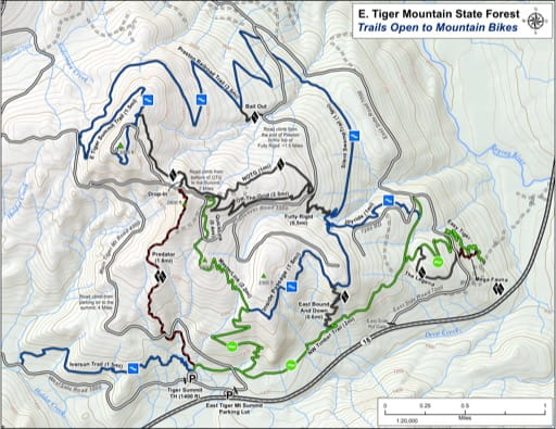 Map of Trails Open to Mountain Bikes in East Tiger Mountain State Forest (SF). Published by the Evergreen Mountain Bike Alliance.