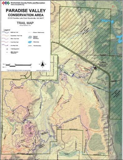 Map of Mountain Bike Trials in Paradise Valley Conservation Area. Published by the Evergreen Mountain Bike Alliance.