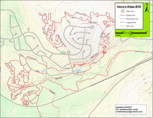 Map of Henry's Ridge. Published by the Evergreen Mountain Bike Alliance.