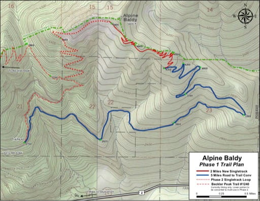 Map of Alpine Baldy. Published by the Evergreen Mountain Bike Alliance.