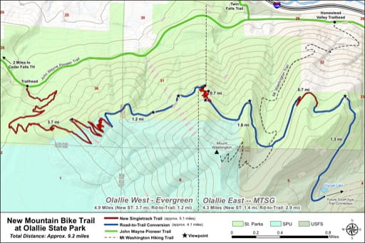 Map of Mountain Bike Trails at Olallie State Park (SP). Published by the Evergreen Mountain Bike Alliance.