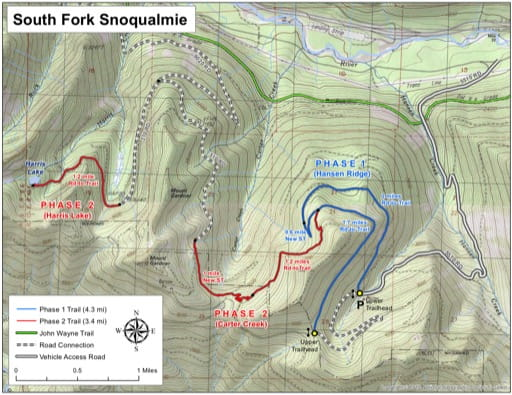 Map of Mountain Bike Trails at South Fork Snoqualmie. Published by the Evergreen Mountain Bike Alliance.
