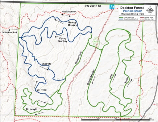 Map of Mountain Bike Trails at Dockton Forest. Published by the Evergreen Mountain Bike Alliance.