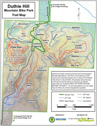 Map of Mountain Bike Trails at Duthie Hill. Published by the Evergreen Mountain Bike Alliance.