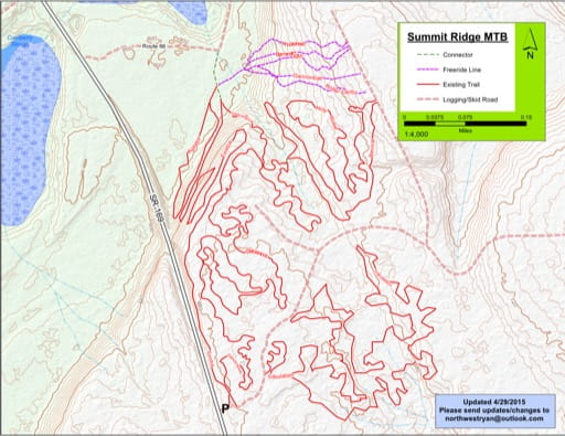 Map of Mountain Bike Trails at Summit Ridge. Published by the Evergreen Mountain Bike Alliance.