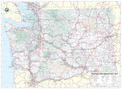 Map of Washington State Highways / Tourist Map. Published by the Washington State Department of Transportation (WSDOT).
