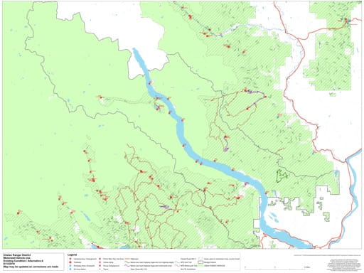 Draft of the Motor Vehicle Travel Map (MVTM) of Chelan Ranger District in Okanogan-Wenatchee National Forest (NF) in Washington. Published by the U.S. Forest Service (USFS).