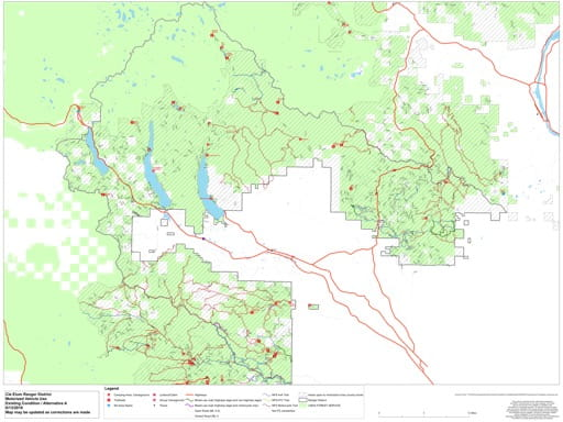 Draft of the Motor Vehicle Travel Map (MVTM) of Cle Elum Ranger District in Okanogan-Wenatchee National Forest (NF) in Washington. Published by the U.S. Forest Service (USFS).