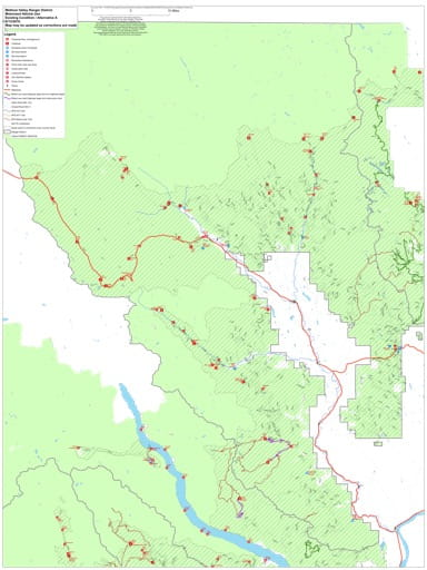Draft of the Motor Vehicle Travel Map (MVTM) of Methow Valley Ranger District in Okanogan-Wenatchee National Forest (NF) in Washington. Published by the U.S. Forest Service (USFS).