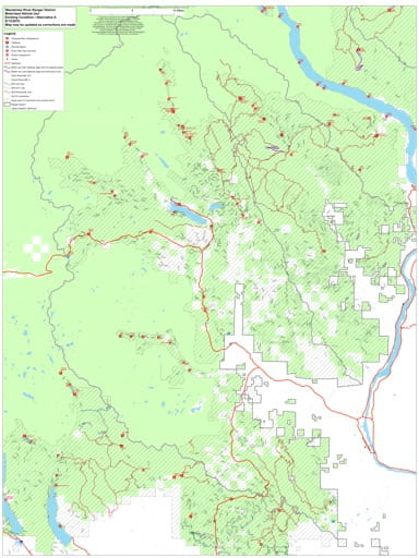 Draft of the Motor Vehicle Travel Map (MVTM) of Wenatchee River Ranger District in Okanogan-Wenatchee National Forest (NF) in Washington. Published by the U.S. Forest Service (USFS).
