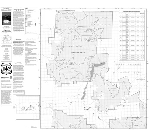 Motor Vehicle Use Map (MVUM) of Mt. Baker Ranger District in Mt. Baker-Snoqualmie National Forest (NF) in Washington. Published by the U.S. Forest Service (USFS).