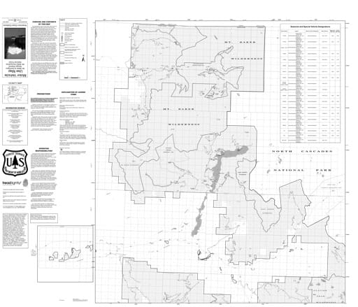 Motor Vehicle Use Map (MVUM) of Darrington Ranger District in Mt. Baker-Snoqualmie National Forest (NF) in Washington. Published by the U.S. Forest Service (USFS).