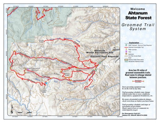 Map of Ahtanum State Forest (SF) Groomed Trail System. Published by Washington State Parks (WASP).