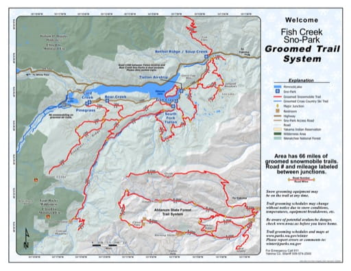 Map of Fish Creek Sno-Park Groomed Trail System. Published by Washington State Parks (WASP).