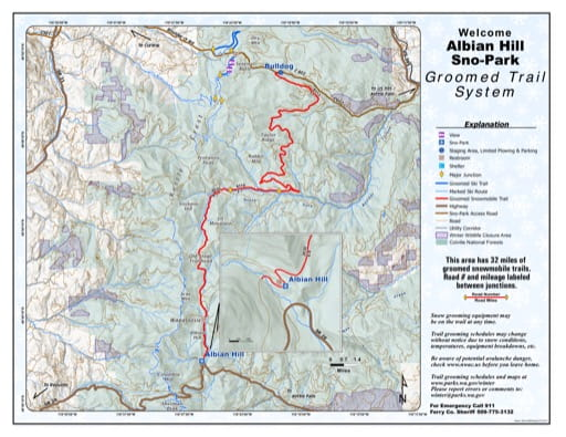 Map of Albian Hill Sno-Park Groomed Trail System. Published by Washington State Parks (WASP).