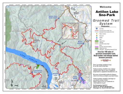 Map of Antilon Lake Sno-Park Groomed Trail System. Published by Washington State Parks (WASP).