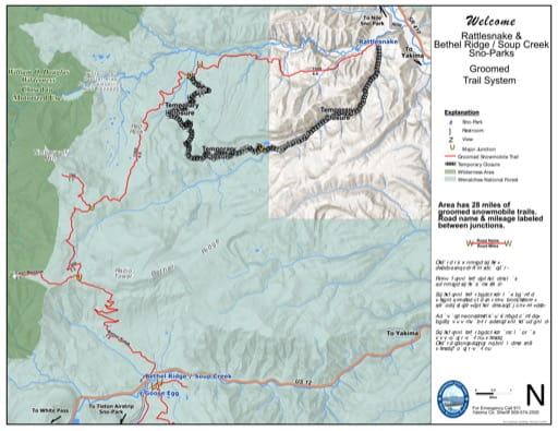 Map of Bethel Ridge, Soup Creek Sno-Park Groomed Trail System. Published by Washington State Parks (WASP).
