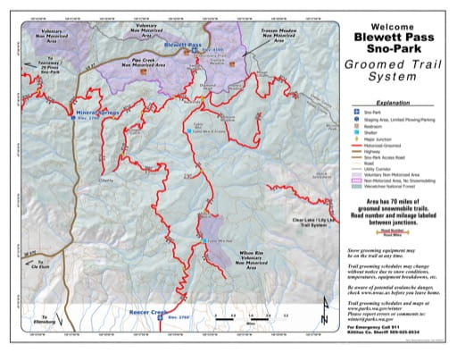 Map of Blewett Pass Sno-Park Groomed Trail System. Published by Washington State Parks (WASP).