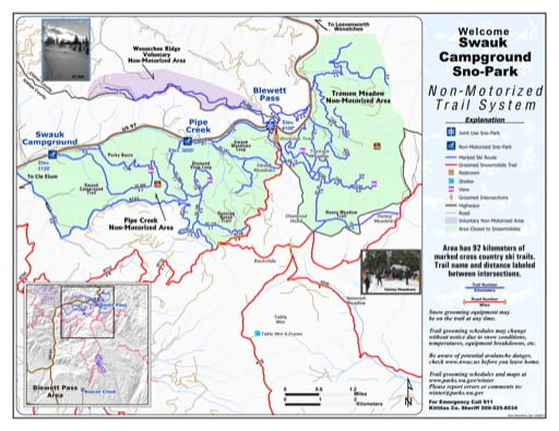 Map of Swauk Campground Sno-Park Groomed Trail System. Published by Washington State Parks (WASP).
