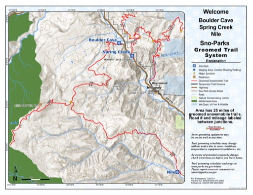 Map of Bould Cave Sno-Park, Spring Creek Sno-Park, Nile Sno-Park Groomed Trail System. Published by Washington State Parks (WASP).
