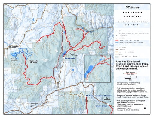Map of Bonaparte Sno-Park Groomed Trail System. Published by Washington State Parks (WASP).