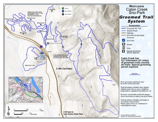 Map of Cabin Creek Sno-Park Groomed Trail System published Washington State Parks (WASP).