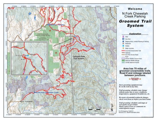 Map of Calispell Peak Area, North Fork Chewelah Creek Sno-Park Groomed Trail System. Published by Washington State Parks (WASP).