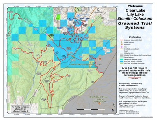 Map of Clear Lake, Liy Lake, Stemilt-Colockum Sno-Parks Groomed Trail System. Published by Washington State Parks (WASP).