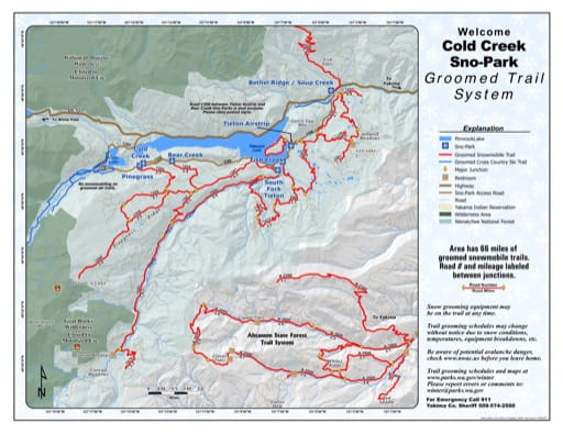 Map of Cold Creek Sno-Park Groomed Trail System. Published by Washington State Parks (WASP).