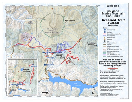 Map of Cougar & Marble Mountain Sno-Parks Groomed Trail System. Published by Washington State Parks (WASP).
