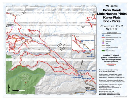 Map of Crow Creek, Little Naches/1904, Kaner Flats Sno-Parks Groomed Trail System. Published by Washington State Parks (WASP).