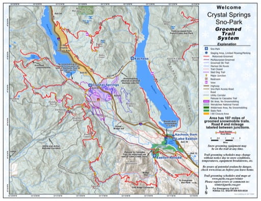 Map of Crystal Springs Sno-Park Groomed Trail System. Published by Washington State Parks (WASP).