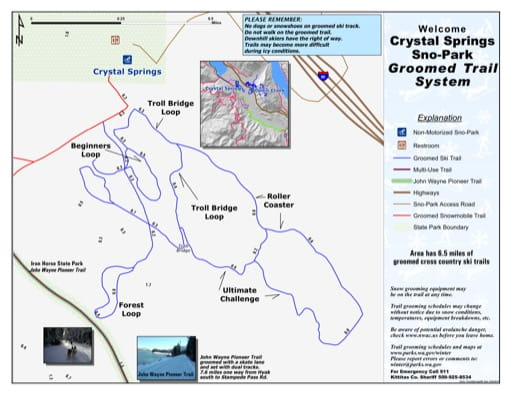 Map of Non-Motorized Trails in Crystal Springs Sno-Park. Published by Washington State Parks (WASP).
