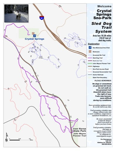 Map of Sled Dog Trails in Crystal Springs Sno-Park. Published by Washington State Parks (WASP).