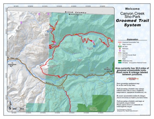 Map of Canyon Creek Sno-Park Groomed Trail System. Published by Washington State Parks (WASP).