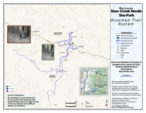 Map of Deer Creek Noridc Sno-Park Groomed Trail System. Published by Washington State Parks (WASP).