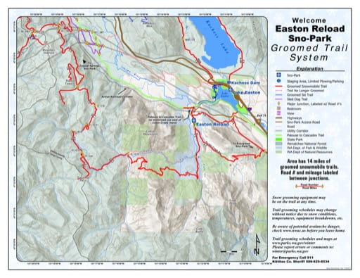 Map of Easton Reload Sno-Park Groomed Trail System. Published by Washington State Parks (WASP).