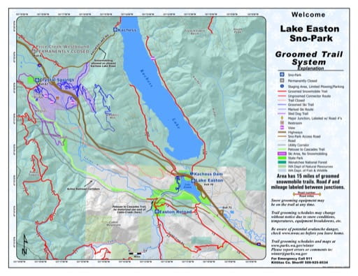 Map of Lake Easton Sno-Park Groomed Trail System. Published by Washington State Parks (WASP).