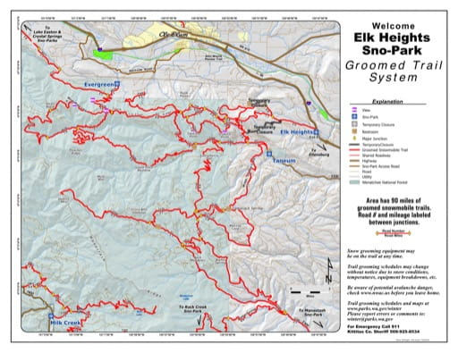 Map of Elk Heights Sno-Park Groomed Trail System published Washington State Parks (WASP).