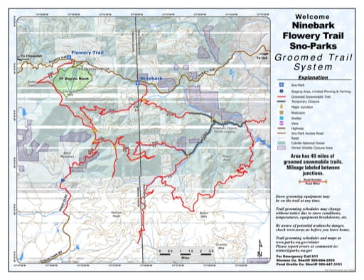 Map of Ninebark, Flowery Trail Sno-Parks Groomed Trail System. Published by Washington State Parks (WASP).