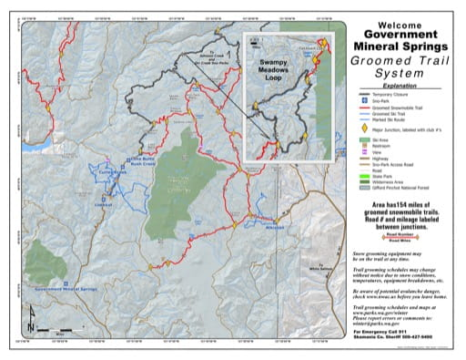 Map of Government Mineral Springs Sno-Park Groomed Trail System. Published by Washington State Parks (WASP).