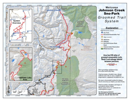 Map of Johnson Creek Sno-Park Groomed Trail System. Published by Washington State Parks (WASP).