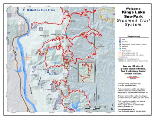 Map of Kings Lake Sno-Park Groomed Trail System. Published by Washington State Parks (WASP).
