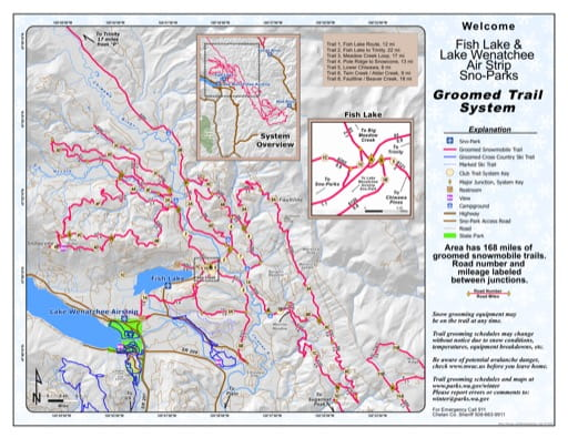 Map of Lake Wenatchee Airstrip Sno-Park Groomed Trail System. Published by Washington State Parks (WASP).