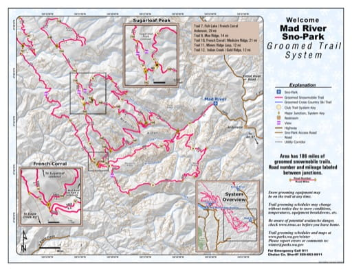 Map of Mad River Sno-Park Groomed Trail System. Published by Washington State Parks (WASP).