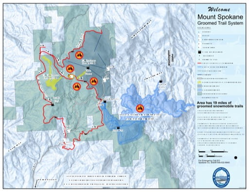 Map of Mount Spokane Sno-Park Groomed Trail System. Published by Washington State Parks (WASP).