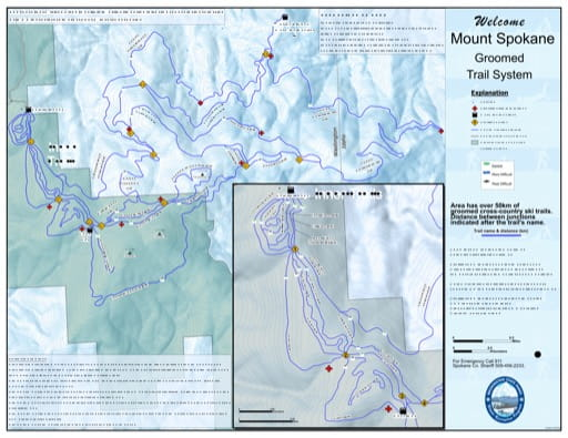 Map of Non-Motorized Trails in Mount Spokane Sno-Park. Published by Washington State Parks (WASP).