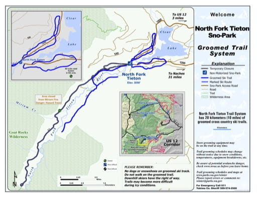 Map of North Fork Tieton Sno-Park Groomed Trail System. Published by Washington State Parks (WASP).