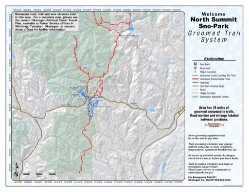 Map of North Summit Sno-Park Groomed Trail System. Published by Washington State Parks (WASP).